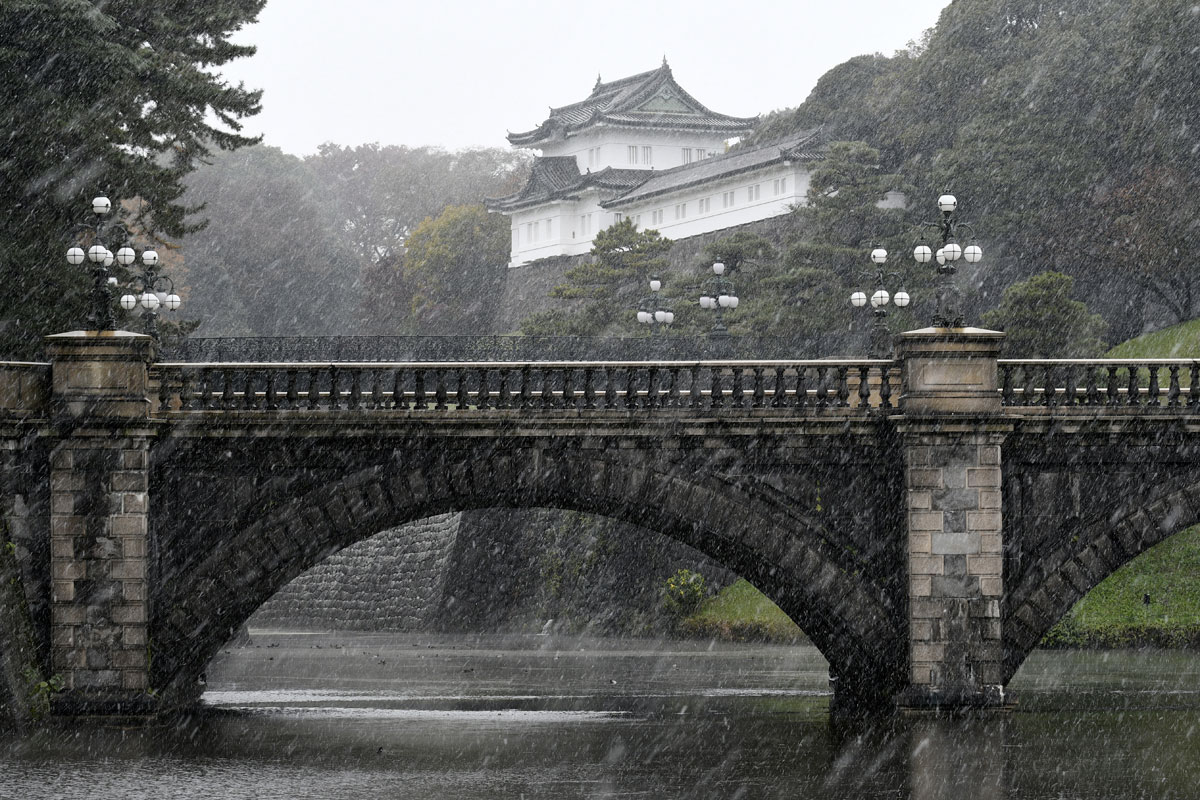 Japan's capital has seen its first November snow for 54 years. [Franck Robichon/EPA]