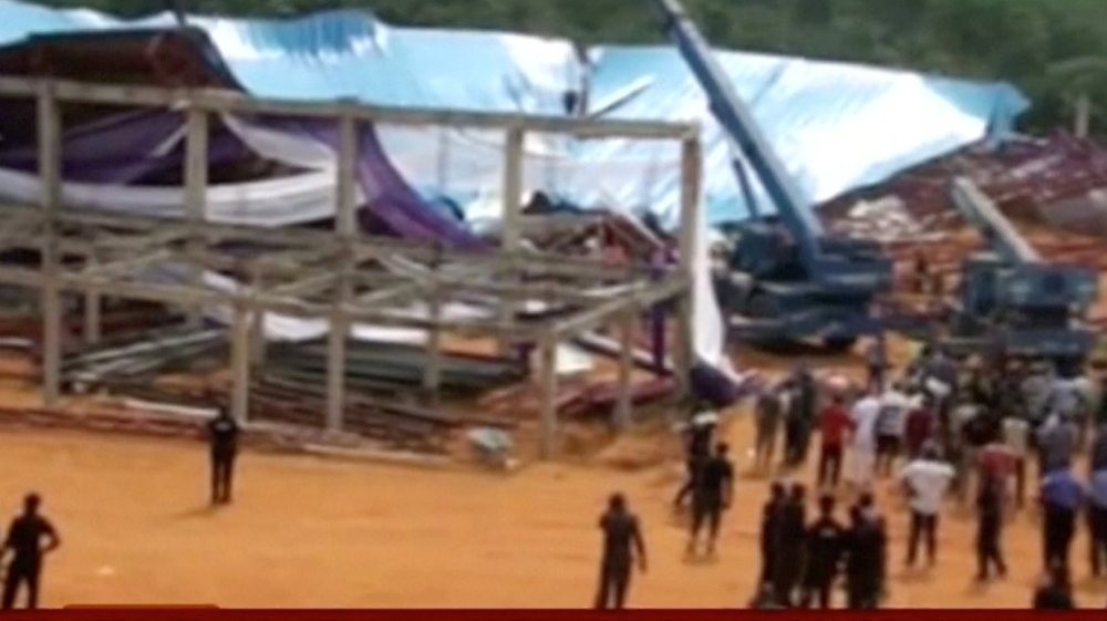 At least 60 people killed after church roof came crashing down on worshippers in southern city of Uyo, officials say.