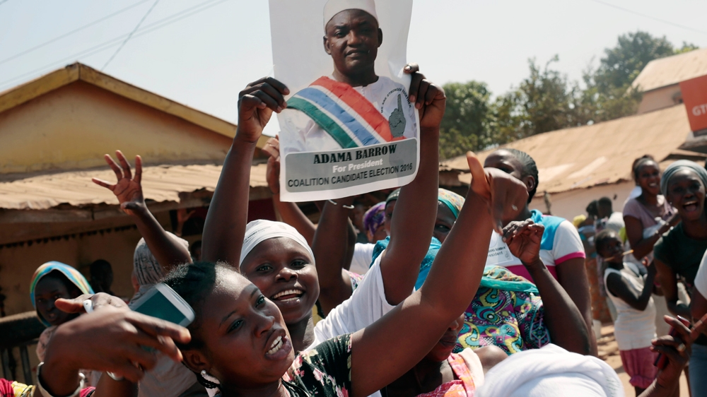 """Yahya Jammeh, who came to power after 1994 coup, congratulates opposition leader Adama Barrow for his """"clear victory""""."""