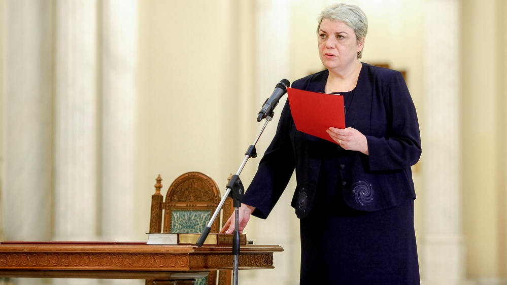 Sevil Shhaideh is sworn in for the position of minister for regional administration and public administration, in Bucharest