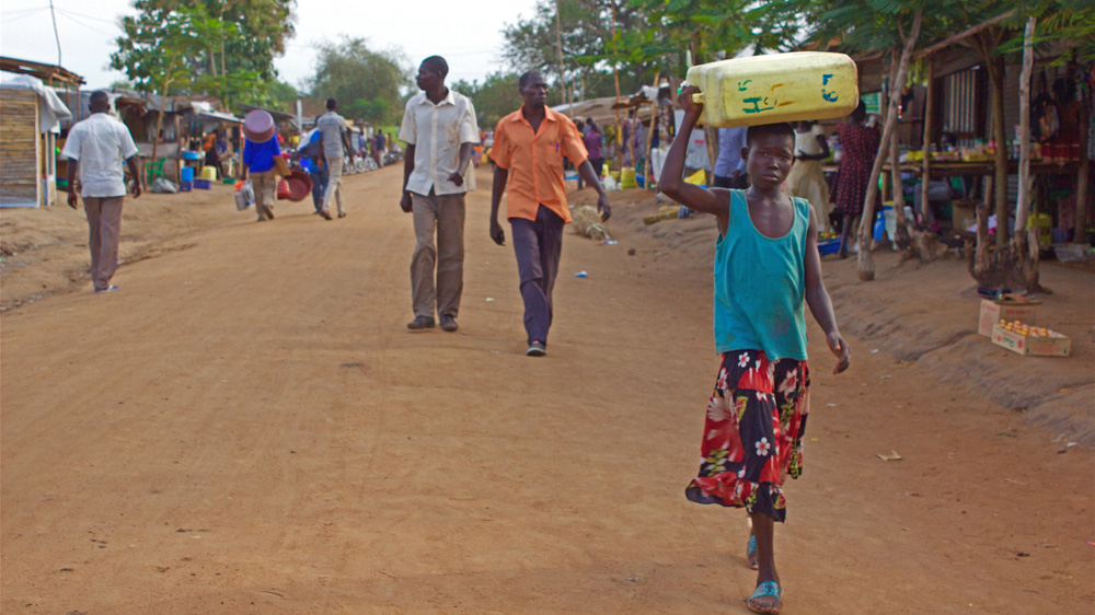 Border town in Uganda where many refugees have found sanctuary and a possibility of a new life.