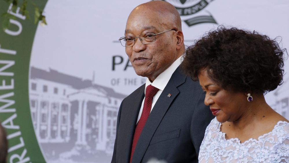 Following protests, president's much-anticipated speech delayed by members of the Economic Freedom Fighters party.