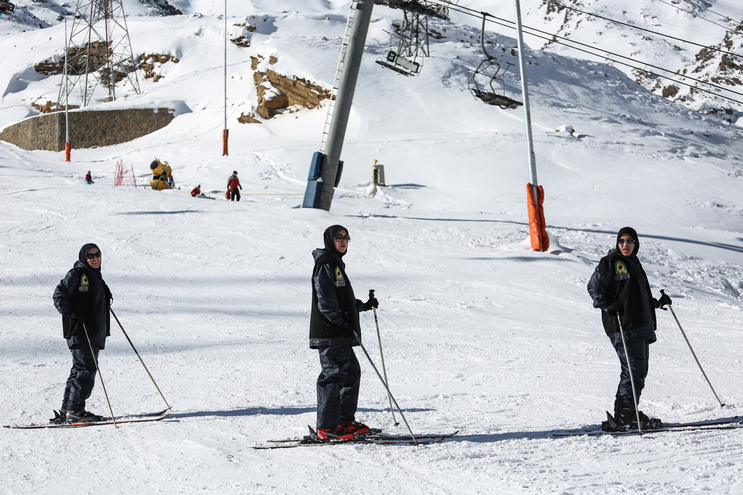 A number of officers are posted at the Darbandsar Ski Resort to ensure security. [Mohammad Ali Najib/Al Jazeera]