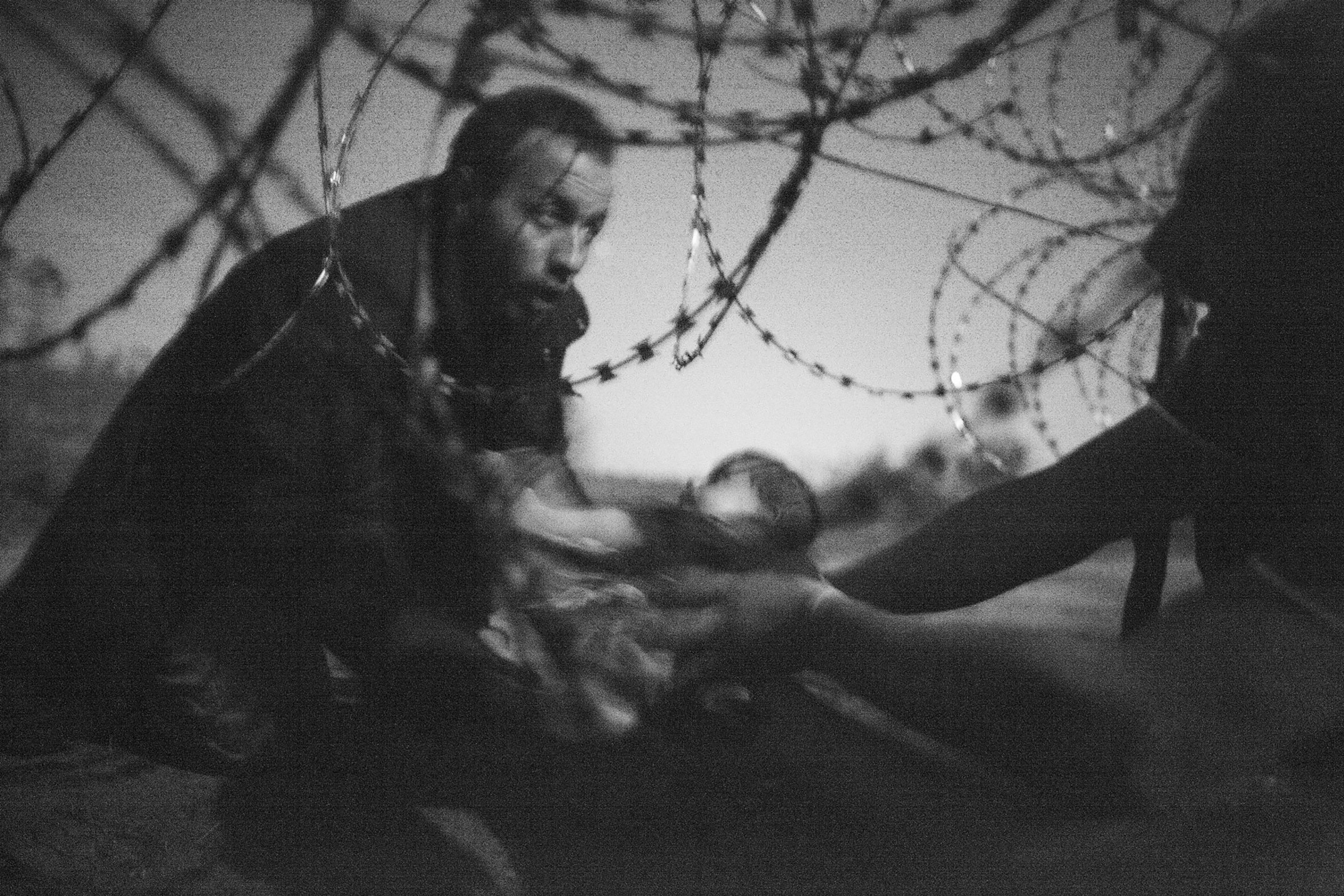 Australian photographer Warren Richardson won the World Press Photo of the Year award for his image of a man passing a baby through the fence at the Serbia/Hungary border in Roeszke, Hungary last year. [EPA]
