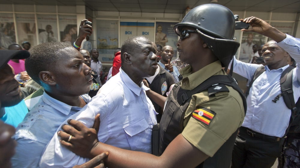 Kizza Besigye detained for third time in a week as provisional election results show incumbent President Museveni ahead.