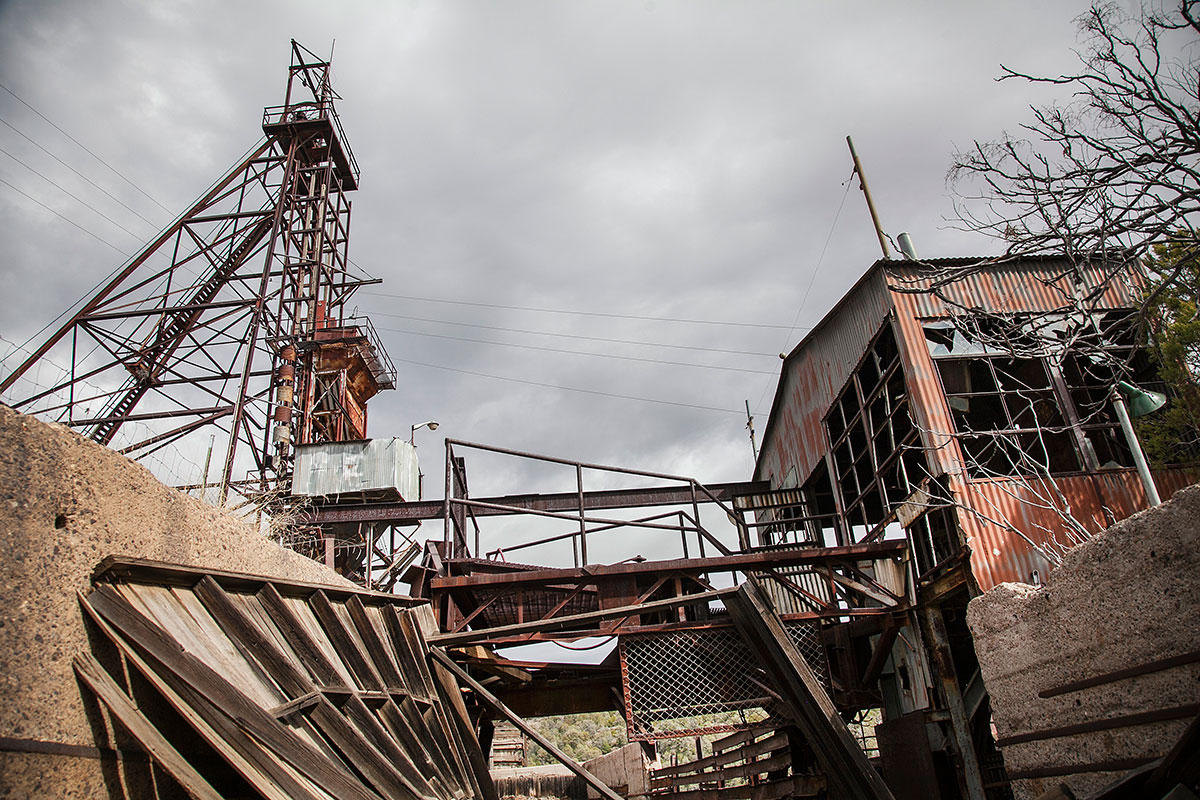 The remains of a zinc mine in Hanover are caught in the midst of collapse and disintegration. [Gabriela Campos/Al Jazeera]