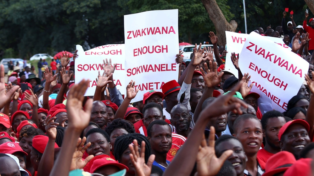 In the first anti-government rally in years, thousands hit streets of Harare to protest against economic mismanagement.