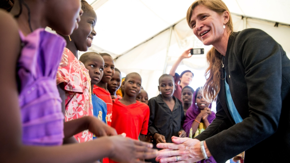 Armoured jeep in Samantha Power's motorcade fatally struck seven-year-old boy who darted onto the road in Cameroon.