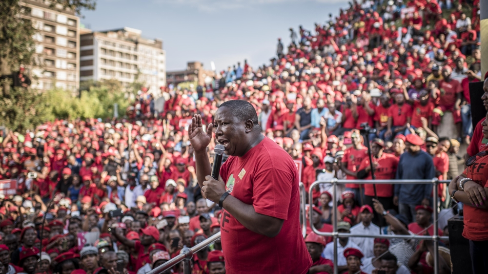 The South African opposition leader says the EFF would fight if the ANC responded violently to peaceful protests.