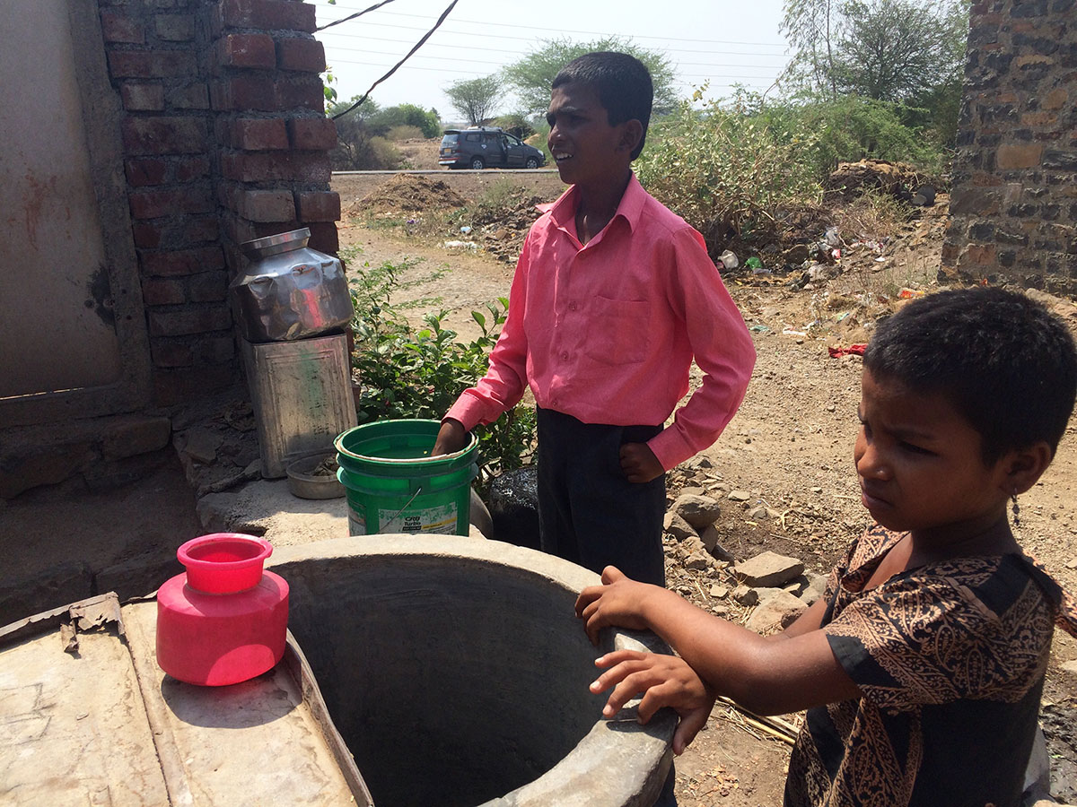 Like many in the Marathwada region, these children in Belkund village are drinking unfiltered water, which is leading to health problems such as diarrhoea and kidney stones [Neha Tara Mehta/Al Jazeera]
