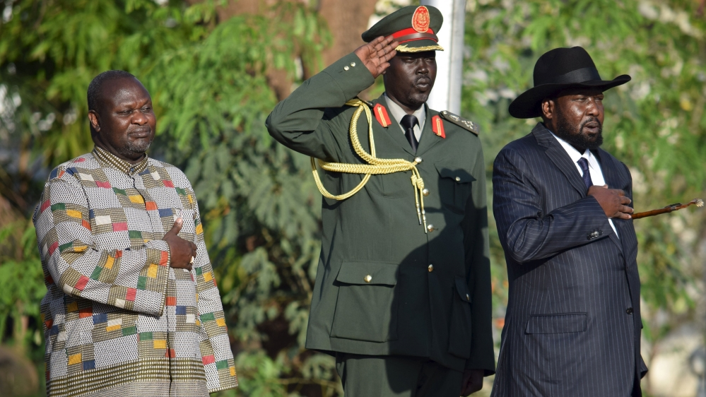 Swearing-in ceremony follows Machar's arrival in Juba after UN deal ended his 28-month conflict with President Kiir.