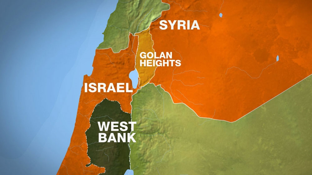 Map of Israel, Syria and the Golan Heights