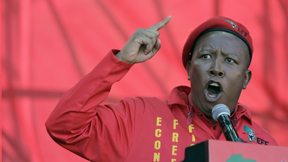 Opposition party leader pledges to seize land from whites and nationalise banks if his EFF party wins local elections.