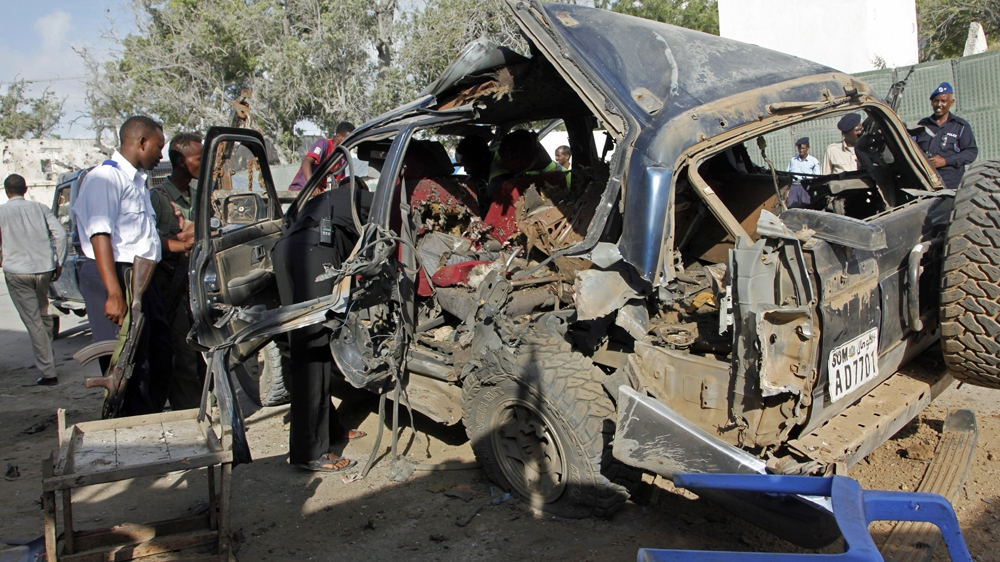 At least three people, including a child, killed in massive explosion in Somali capital claimed by al-Shabab.