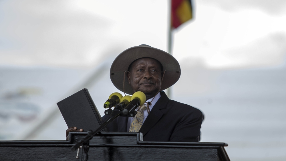 US, Canadian and European officials walk out of ceremony as Ugandan president criticises International Criminal Court.