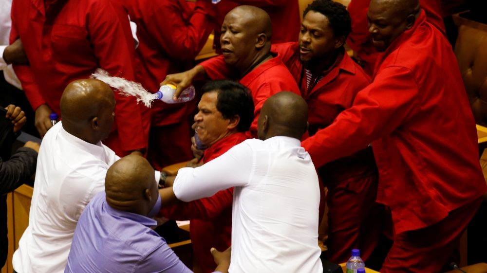 President Zuma calls for decorum in assembly after forcible removal of opposition MPs who tried to prevent his address.