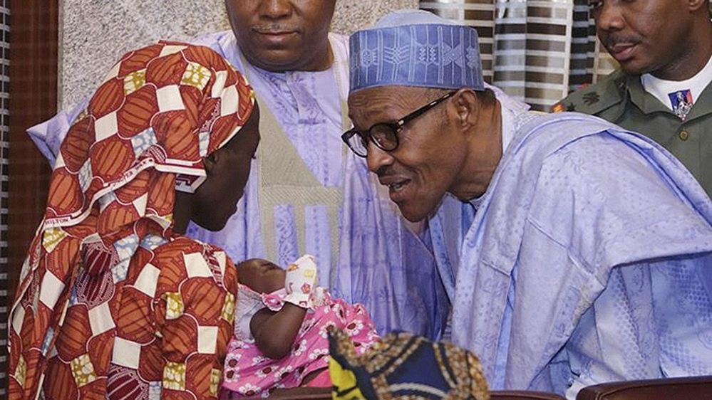 President's meeting with one of the 219 girls abducted by Boko Haram comes two days after she was found in a forest.