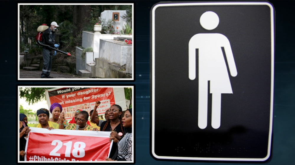 The latest news on #Zika, #BringBackOurGirls and #Transgender bathroom bills in the US.