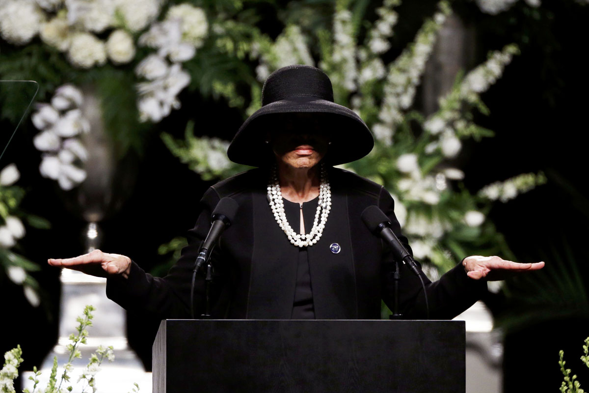Lonnie Ali, the wife of Muhammad Ali, spoke at a public memorial service for the late boxer. [Lucas Jackson/Reuters]