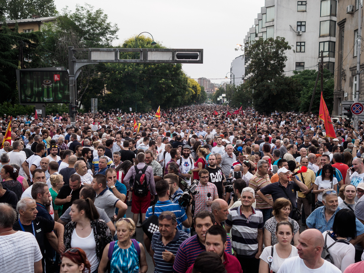 Protesters gather in front of the Special Prosecutor's office, where demonstrations start in Skopje. [Lazar Simeonov/Al Jazeera]