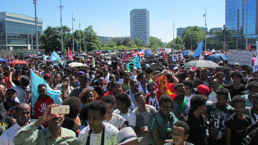 Thousands of diaspora Eritreans march in support of UN report that accuses government of crime against humanity.