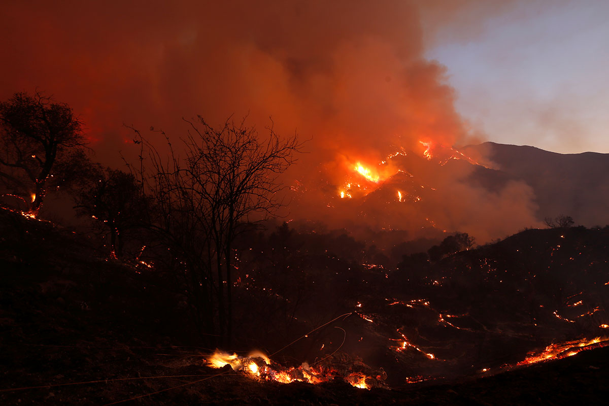 Fire burns brush on a hillside during the so-called Sand Fire in the Angeles National Forest near Los Angeles, California, U.S. [Jonathan Alcorn/Reuters]