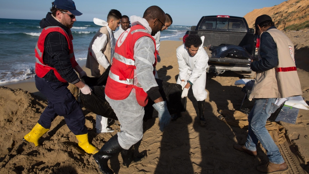 Scores of bodies of people who drowned trying to cross the Mediterranean were found around Sabratha city in July.