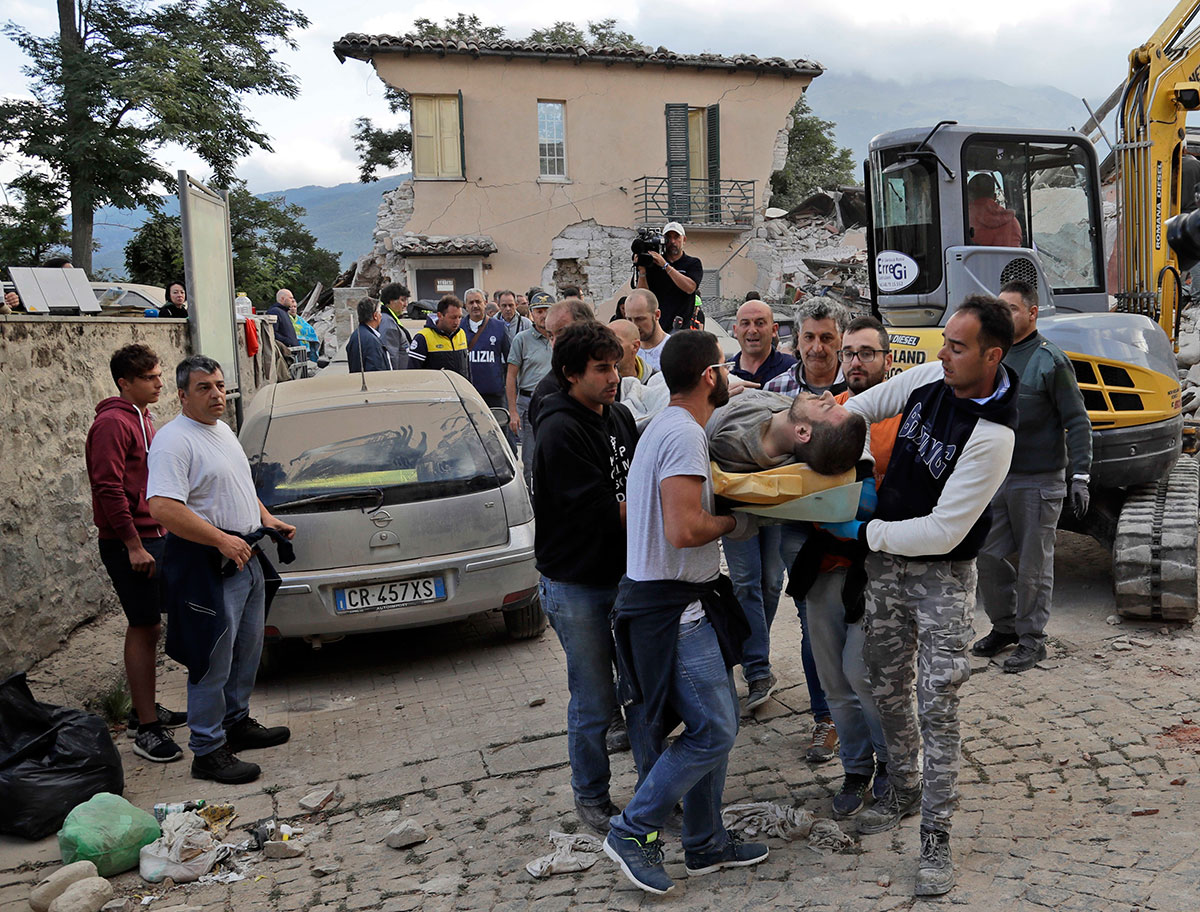 The magnitude 6.2 quake struck at 3:36 am (0136 GMT) and was felt across a broad swathe of central Italy, including Rome where residents felt a long swaying followed by aftershocks. [Alessandra Tarantino/AP]