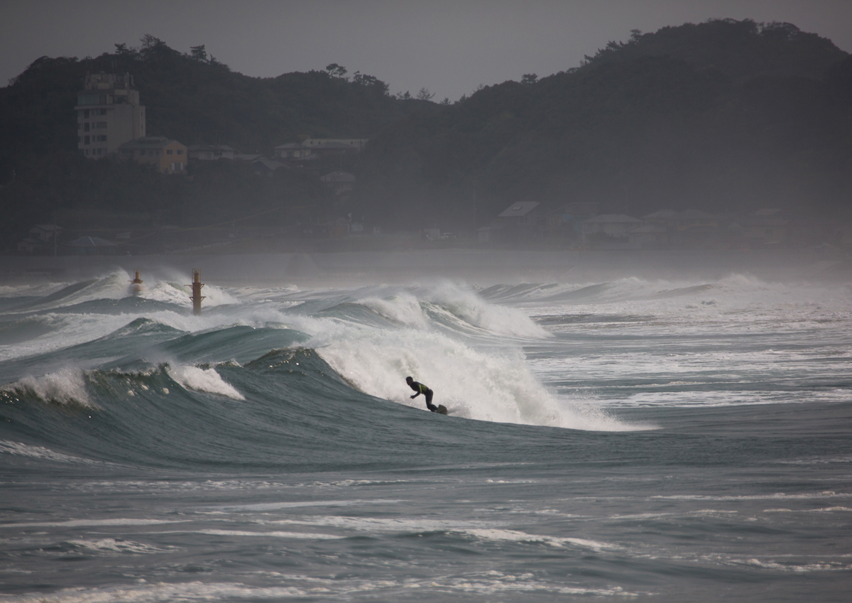 Tairatoyoma beach, in the prefecture of Fukushima 50km from the nuclear plant, was among the most popular areas with Japanese surfers before the accident. [Eric Lafforgue/Al Jazeera]