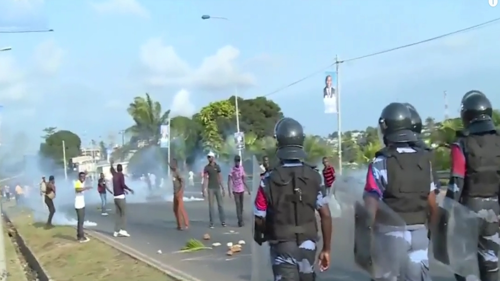 """Protests in capital Libreville turn violent as supporters of opposition leader Jean Ping say the vote was """"stolen""""."""