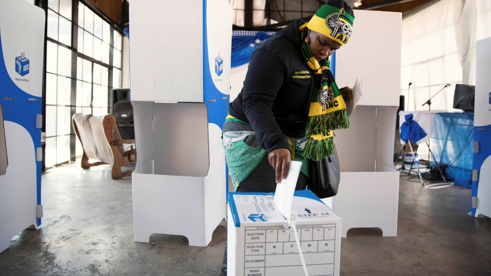 African National Congress ahead but with lowest levels of backing in count seen as marker for 2019 general election.