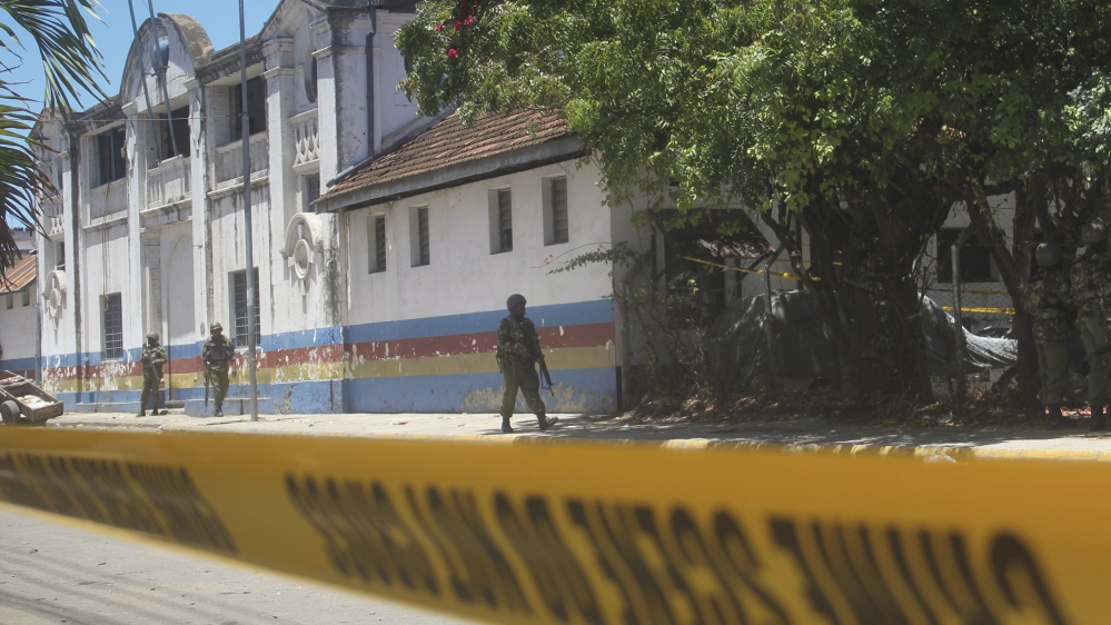 Attackers were killed after staging an attack on Mombasa's main police  with a knife and a petrol bomb.