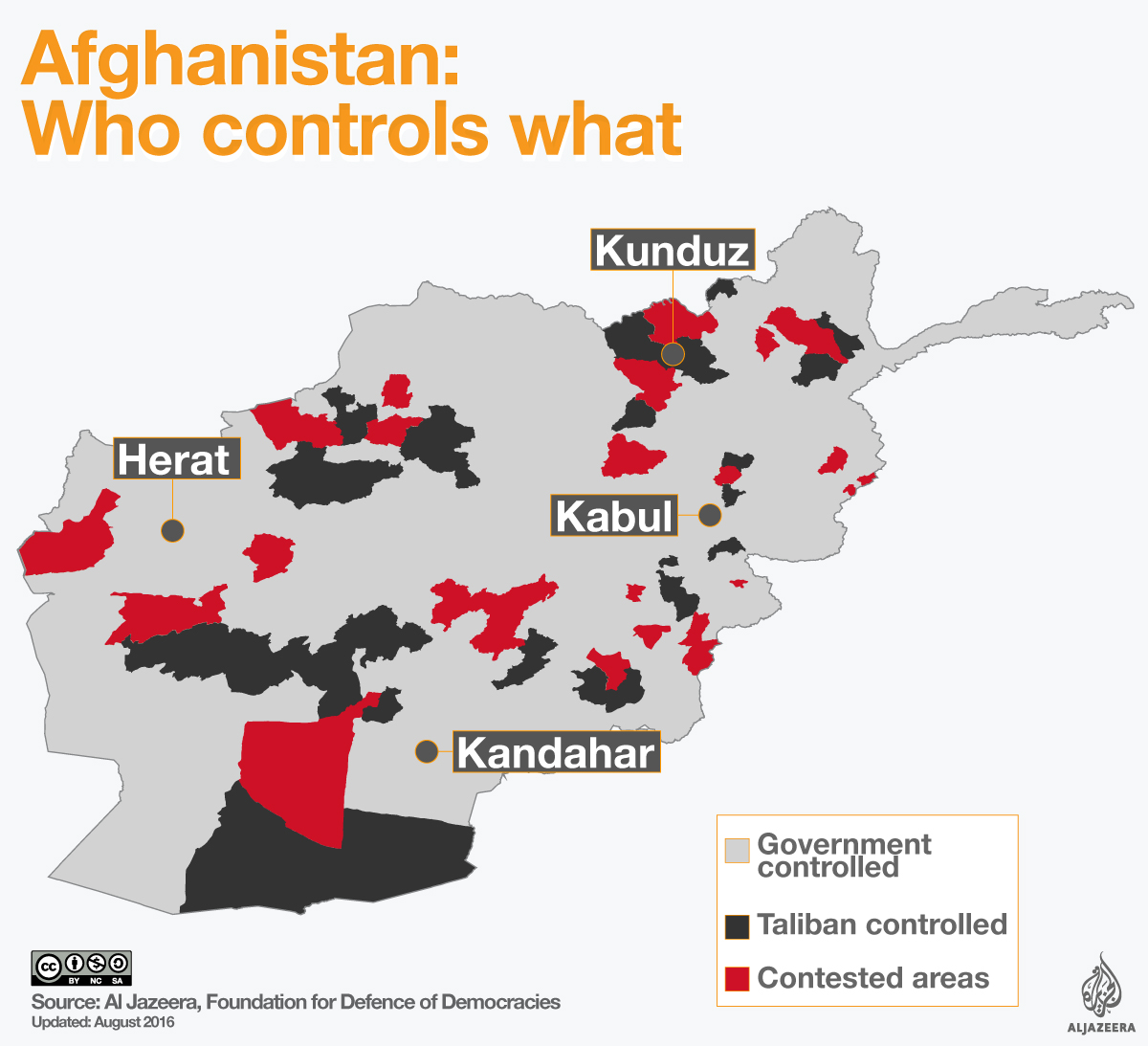 afghanistan war map who controls what al jazeera