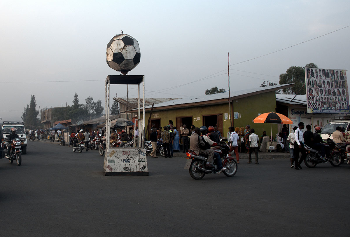 A statue of a football in the centre of the war-torn city of Goma in eastern Democratic Republic of Congo. During the 1990s and 2000s, at the height of the civil war, Goma was the closest major city to the bushes where rebel fighters were based. [Didem Tali/Al Jazeera]