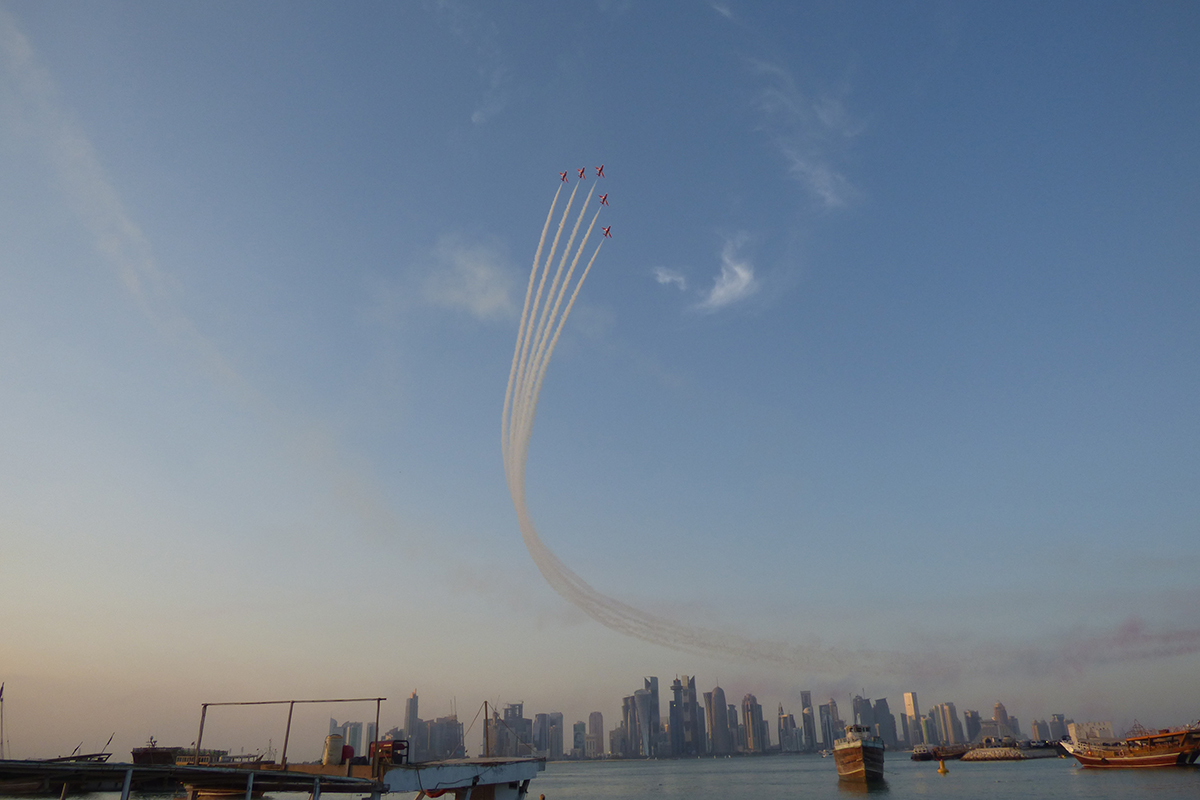 The RAF Red Arrows were in Qatar on Saturday, putting on the type of display that has made them world-famous for more than 50 years. [Richard Angwin/Al Jazeera]