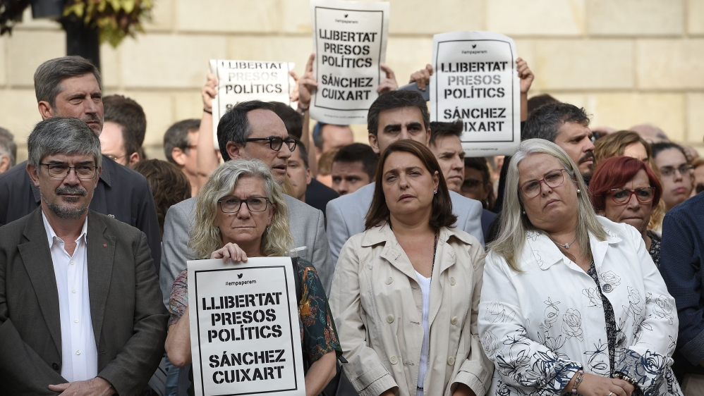 Protests erupt as Catalan separatist leaders jailed