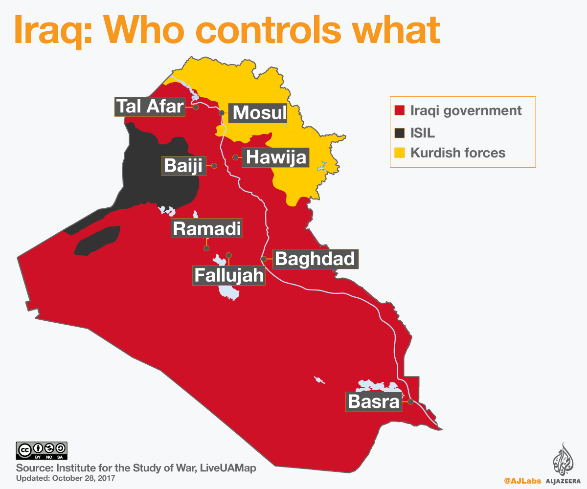 Iraq War Map Who Controls What ISIS Al Jazeera - Iraq map