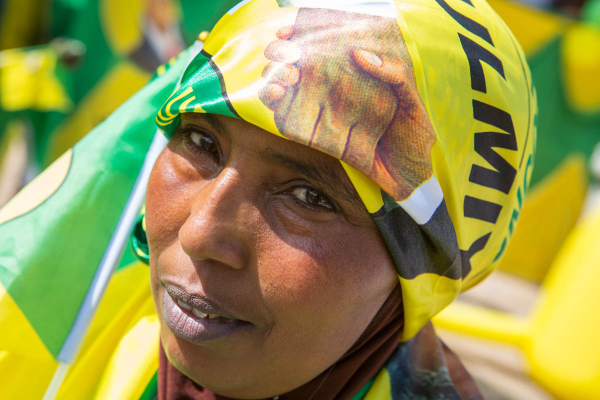 A Kulmiye party supporter at a rally in Hargeisa. [Kate Stanworth/Saferworld/Al Jazeera]