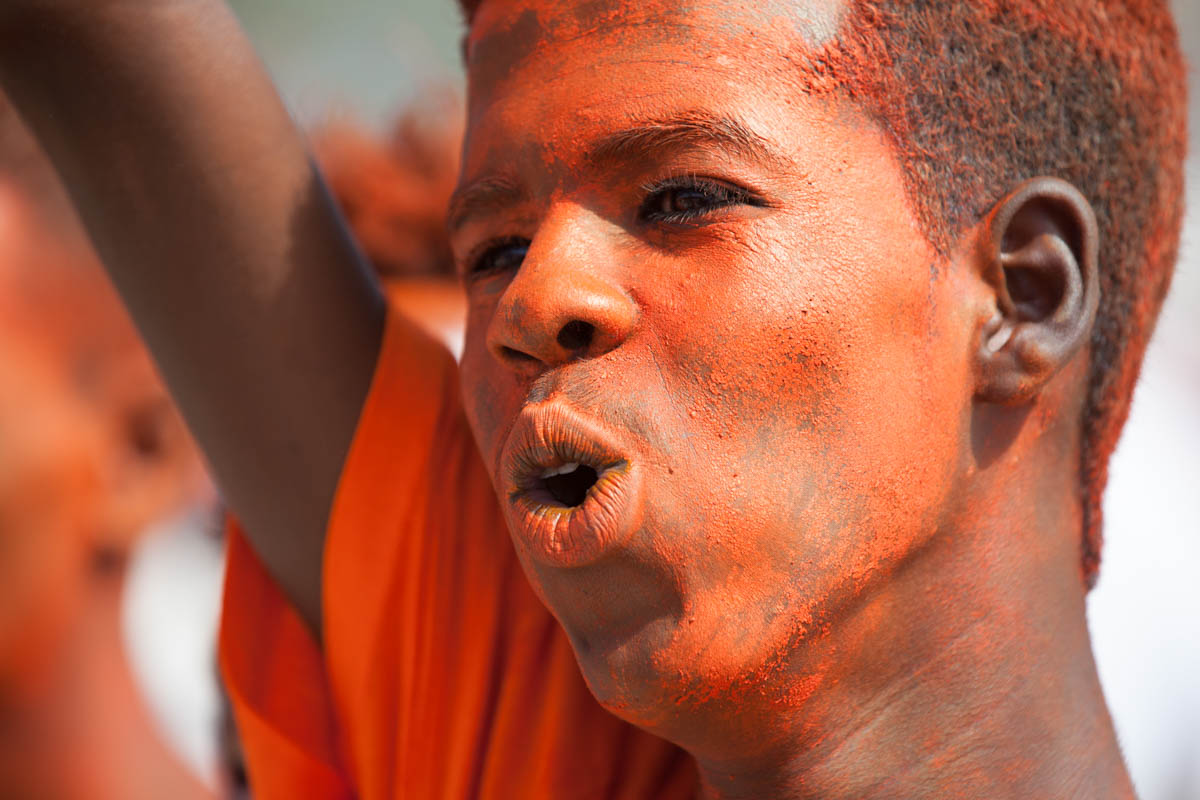 A boy chants 'bedaluu', an elaboration of the word 'bedal' meaning 'change', at a Waddani party political rally in Hargeisa. Word play, phrases and songs capture the popular imagination in a culture with a strong oral tradition. [Kate Stanworth/Saferworld/Al Jazeera]