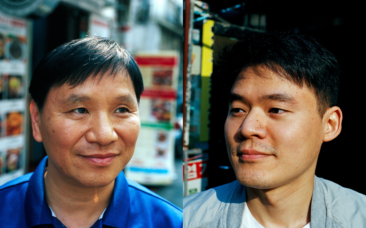 """Ahmad Cho (left) 48, marketing agent at Talent Cosmetic, a Malaysia-certified Halal Korean cosmetic store located almost right across the street from the Seoul Central Masjid. He converted to Islam in 1990 and was one of the 40 Korean Muslims who were invited to the 2000 Hajj pilgrimage. """"I cried when I arrived at the Kaaba, in Mecca,"""" he says. Emir Kim (right) 28, from Incheon and advisor at the mosque's Islamic Center, is one of those Koreans who believe in this strong attachment between the two nations. Introduced to Islam by his Turkish friends on a 2010 trip to China, he soon found more in the religion than a simple interest. """"It's the life routine associated with Islam that first interested me,"""" he says. """"But it's really the equality and concept of brotherhood that I appreciate the most."""" South Korea is a very conservative Confucian society ruled by age structure, where respect for the elders is paramount. This daily occurrence is reflected in the language grammar, which uses a complex system of honorifics to reflect age hierarchy and levels of familiarity among people. For Emir, this social standard is often constricting. """"I feel more comfortable with my fellow Muslim brothers, regardless of their age, culture, or background,"""" he says. """"This lack of hierarchy is very liberating to me."""" [Radu Diaconu/Al Jazeera]"""