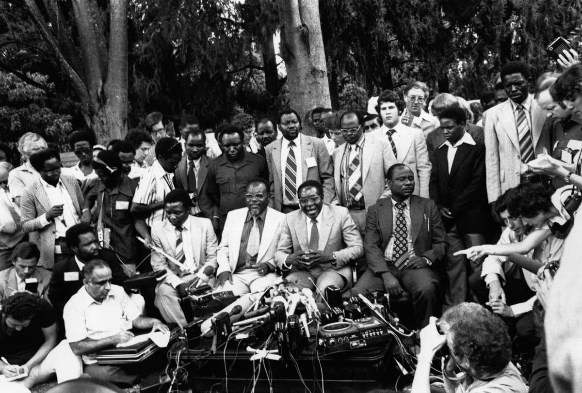 Robert Mugabe, newly elected prime minister of Zimbabwe, at a press conference in his garden in Mount Pleasant, Salisbury, March 6,1980. [Keystone/Getty Images]