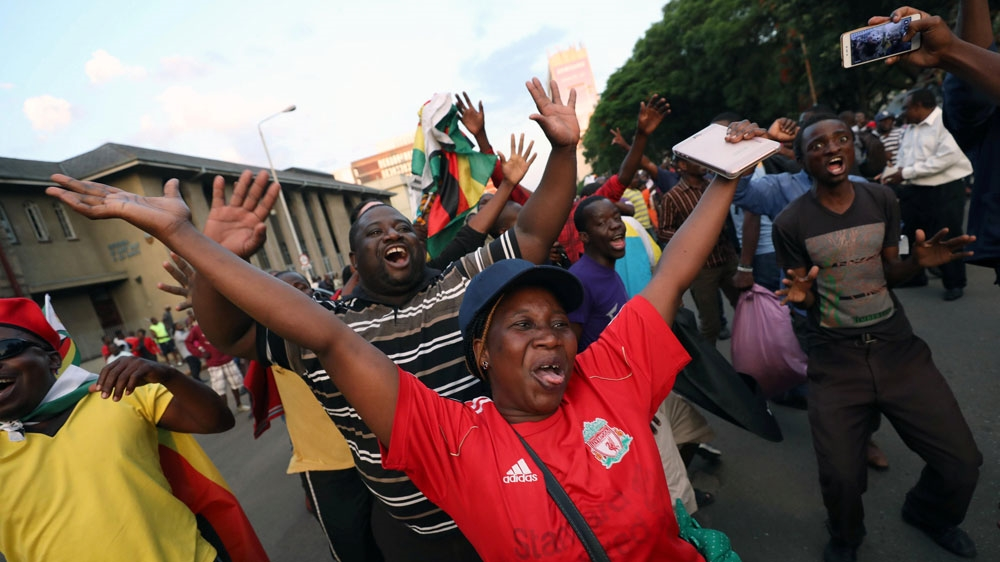 Harare residents celebrate Mugabeu0027s resignation Mike HutchingsReuters