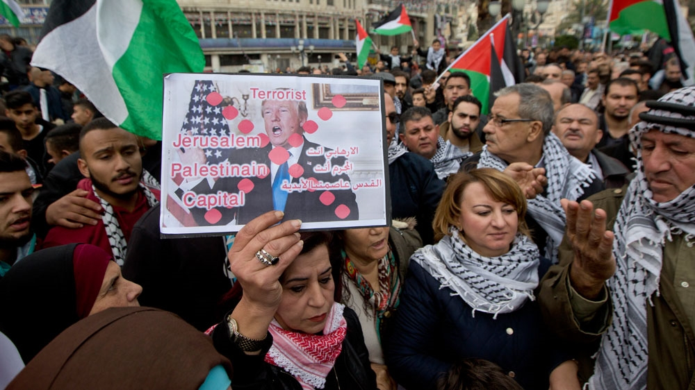 Palestinians protest Trump