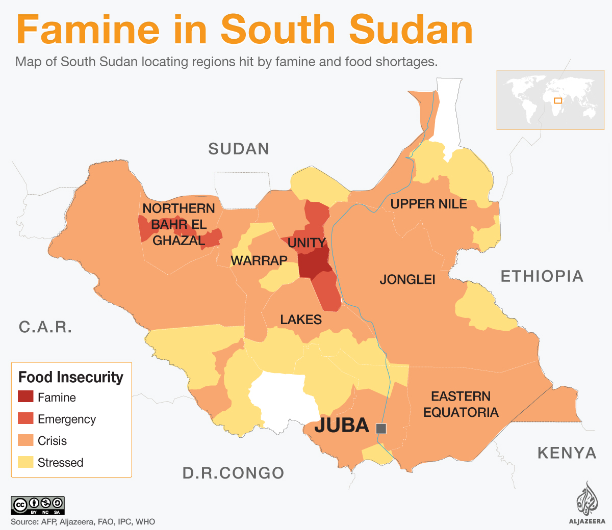 South Sudan Areas Affected By Famine South Sudan Al Jazeera - Sudan map