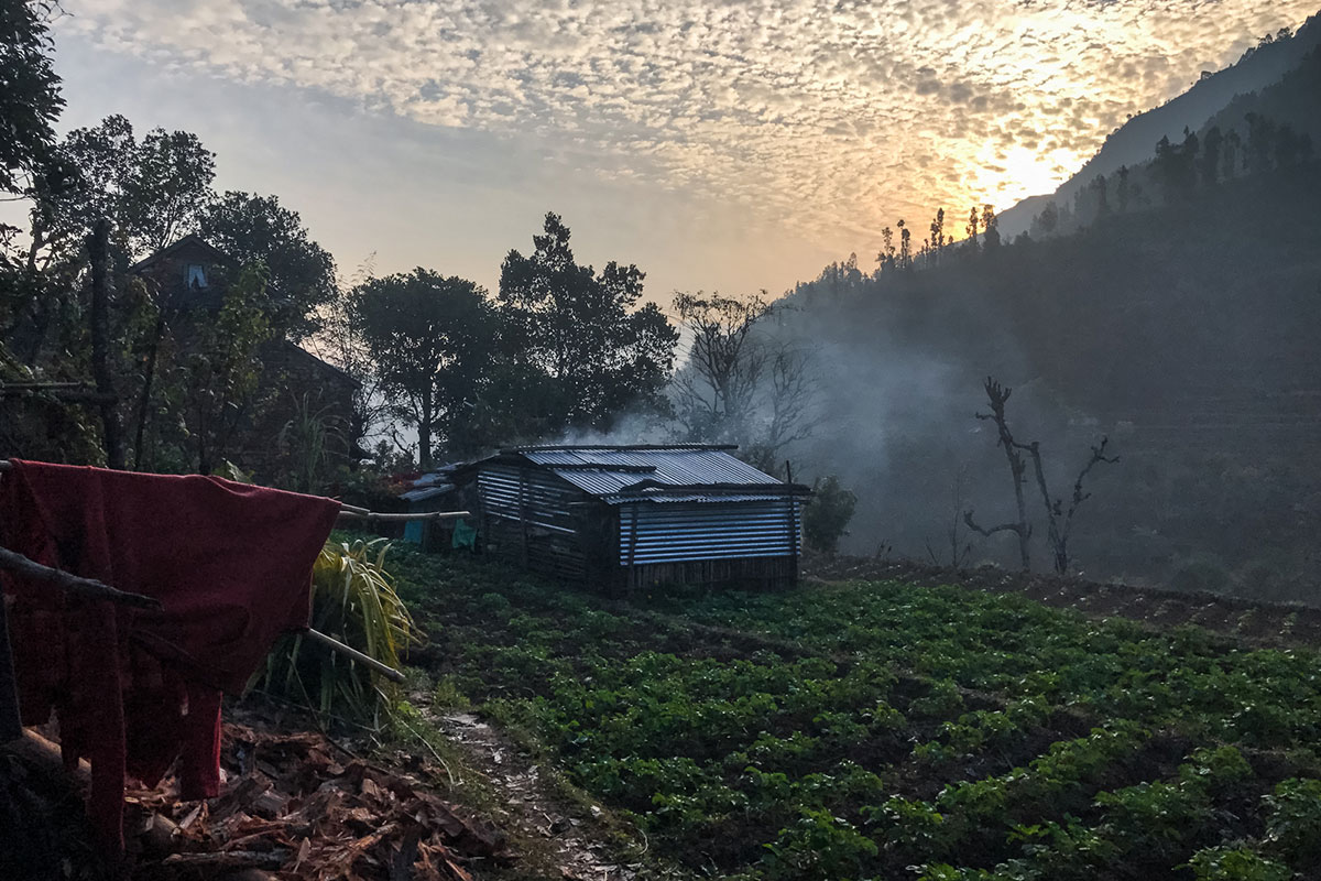 Early morning at the home of Sharma family in Dandagaon village, in Dhading district. The area was severely affected by the 2015 earthquake. [Ioana Moldovan/Al Jazeera]