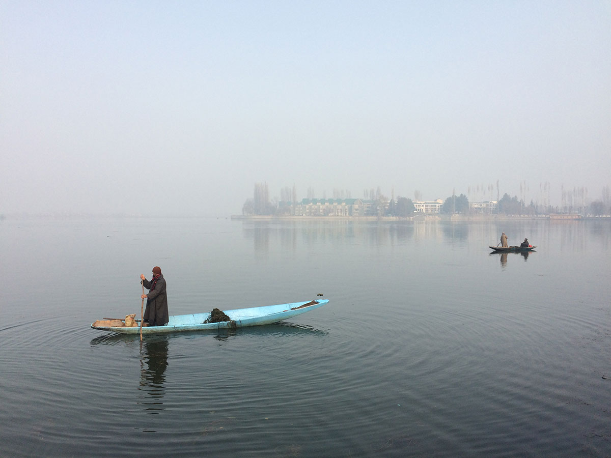 Boatmen paddle in the early morning mist on Dal Lake in Indian-administered Kashmir. A tense calm has descended on the valley after months of violent anti-India protests. [Karishma Vyas/Al Jazeera]