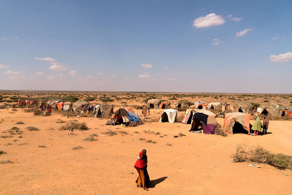 The shelters of nearly 400 pastoralists families, who have lost a majority of their livestock due to drought, have set up camp along the road in search of food and water in Uusgure, Puntland, northern Somalia. [Adriane Ohanesian/Al Jazeera]