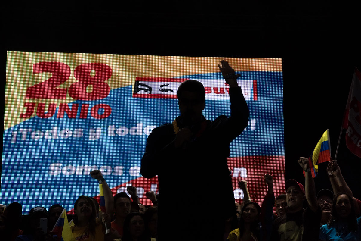 Venezuela's President Nicolas Maduro speaks during a pro-government rally in Caracas on June 26, 2015. Maduro's approval ratings have fallen as the country faces an economic crisis and three-digit inflation. [Wil Riera/Al Jazeera]