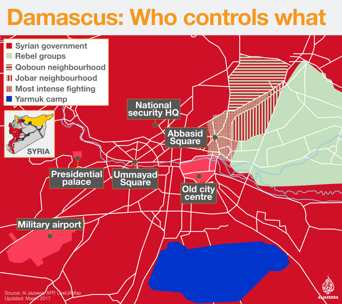 damascus civil war map who controls what infographic