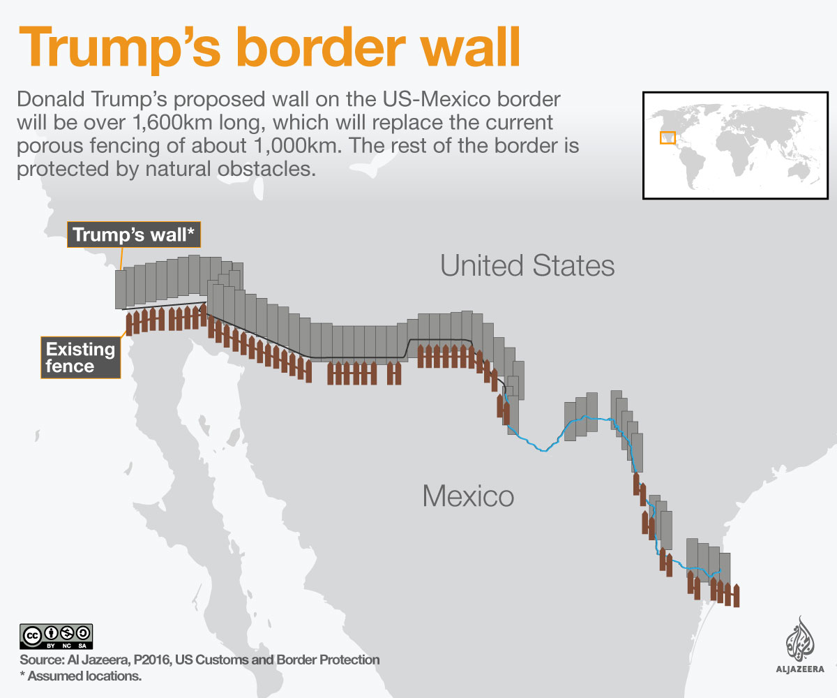 Trumps Border Wall Explained Mexico Al Jazeera - Map of us border fence